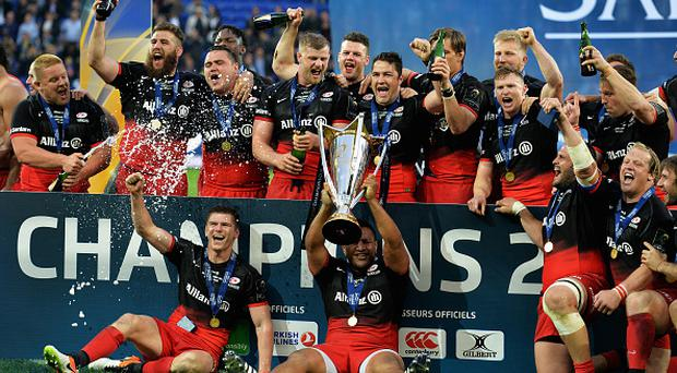 LYON, FRANCE - MAY 14:Saracens celebrations during the European Rugby Champions Cup Final match between Racing 92 and Saracens at Stade de Lyon on May 14, 2016 in Lyon, France.