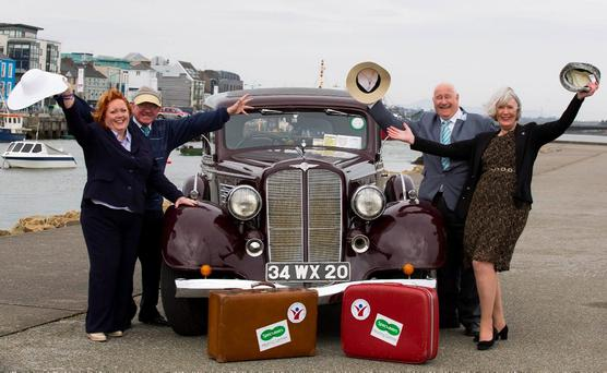 TRAVEL BOUND: (From left) Mags Smart from Specsavers, Wexford, Terry Dolan from Wexford, Kevin Molloy from Active Retirement Ireland and Madeline Quirke, of Wexford Chamber of Commerce. Photo: Mary Browne