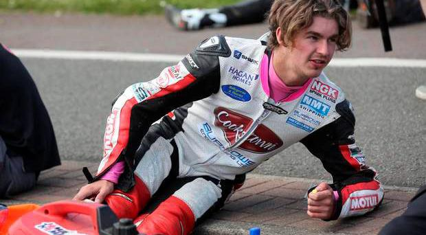 Malachi Mitchell-Thomas was killed in a crash during the supertwins race at the North West 200. He is pictured on the grid just before racing began.