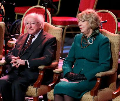 PRESIDENTIAL DEBATE: President Michael D Higgins and his wife Sabina — 'This tendency to go off on solo runs is increasingly the mark of the Higginses as a political couple. They both did it during the Rising centenary too'. Photo: Damien Eagers