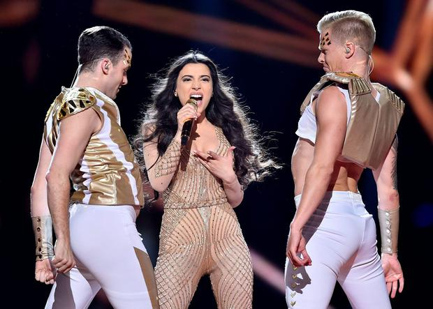 Azerbaijan's Samra performs the song 'Miracle' during the Eurovision Song Contest final in Stockholm, Sweden, Saturday, May 14, 2016. (AP Photo/Martin Meissner)