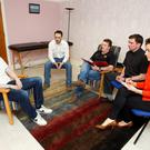 'IT'S DESTROYING LIVES': 'Alan' (left), who is recovering from a heroin addiction, at a counselling session in Cavan and Monaghan Drug and Alcohol Services in Cavan town, with Tim Murphy, counsellor Steven Shields, Fr Jason Murphy and 'Sunday Independent' reporter Claire Mc Cormack
