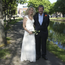 Charlie Bird with his beautiful bride Claire Mould on the banks of Dublin's Grand Canal yesterday.