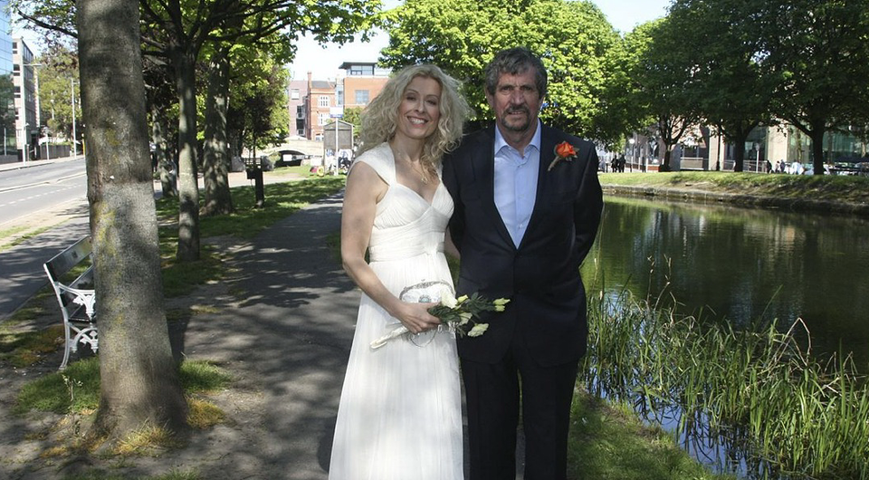 Charlie Bird with his beautiful bride Claire Mould on the banks of Dublin's Grand Canal