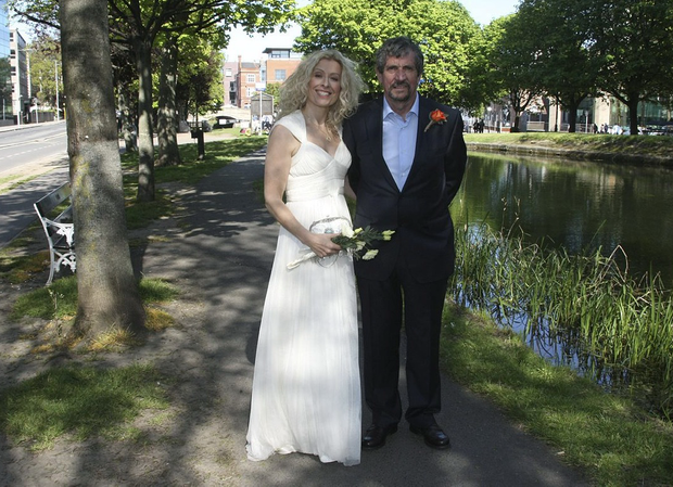 Charlie Bird with his wife Claire Mould on the banks of Dublin's Grand Canal