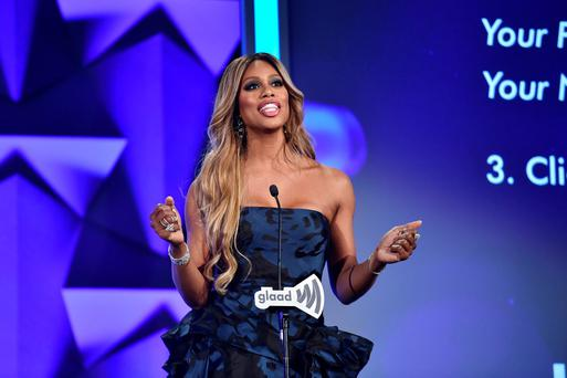 Actress Laverne Cox speaks onstage at the 27th Annual GLAAD Media Awards in New York on May 14, 2016 in New York City. (Photo by Dimitrios Kambouris/Getty Images for GLAAD)