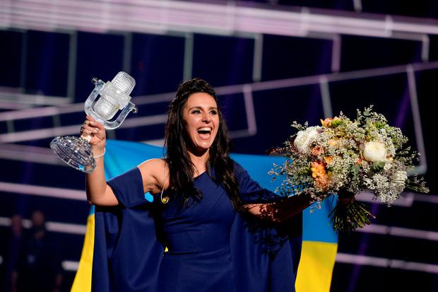 Ukraine's Jamala reacts on winning the Eurovision Song Contest final at the Ericsson Globe Arena in Stockholm, Sweden. TT News Agency/Maja Suslin/via Reuters