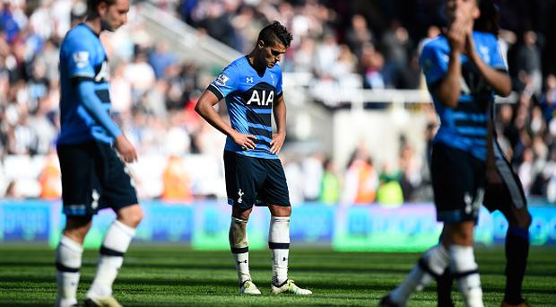 NEWCASTLE UPON TYNE, ENGLAND - MAY 15: Erik Lamela of Tottenham Hotspur looks dejected after the Barclays Premier League match between Newcastle United and Tottenham Hotspur at St James' Park on May 15, 2016 in Newcastle, England. (Photo by Stu Forster/Getty Images)