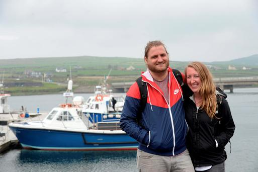 Dan Kroszner and Terra Amelang from Colarado, USA, after visiting Skellig Michael Photo: Don MacMonagle