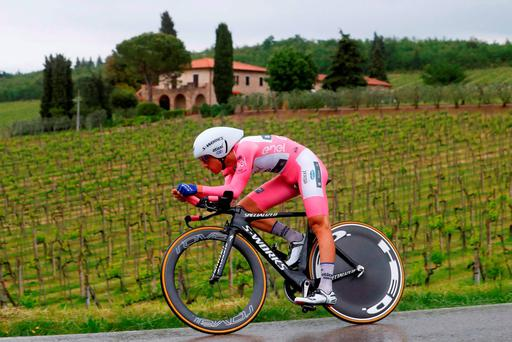 Gianluca Brambilla of Etixx-Quick Step during yesterday's time trial stage of Giro d'Italia. The Italian held onto the pink jersey for a second day Photo: AFP/Getty
