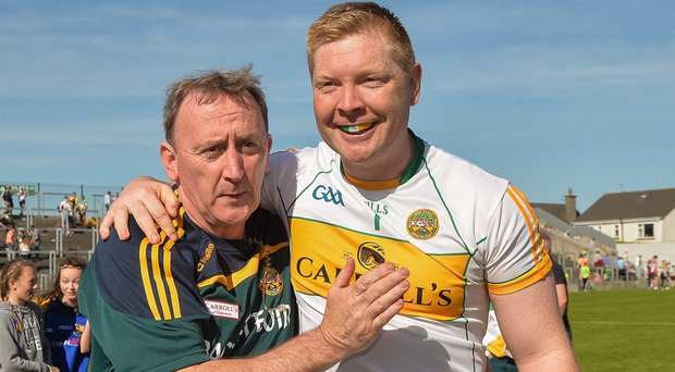 Offaly manager Pat Flanagan celebrates with his captain Alan Mulhall after the Leinster GAA Football Senior Championship match against Longford in O'Connor Park Photo: Piaras O Midheach/Sportsfile