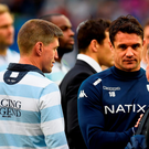 Ronan O'Gara chats with Dan Carter after Racing 92's defeat to Saracens Photo: Getty