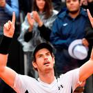 Britain's Andy Murray celebrates his victory over Novak Djokovic in Rome. Photo: AFP/Getty