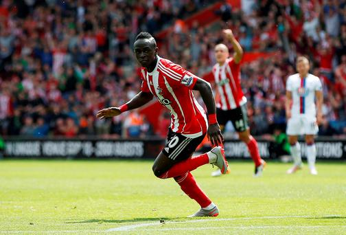 Sadio Mane celebrates after scoring the first goal for Southampton. Photo: Paul Childs/Reuters