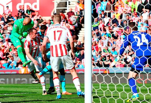 West Ham goalkeeper Darren Randolph gets his head to a late corner, however, it went wide of Shay Given's goal. Photo: Dave Thompson/Getty Images