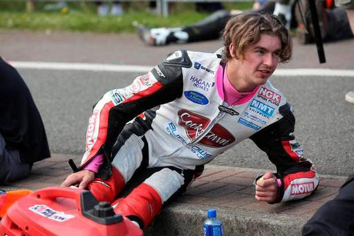Malachi Mitchell-Thomas was killedin a crash during the supertwins race at the North West 200. He is pictured on the grid just before racing began.