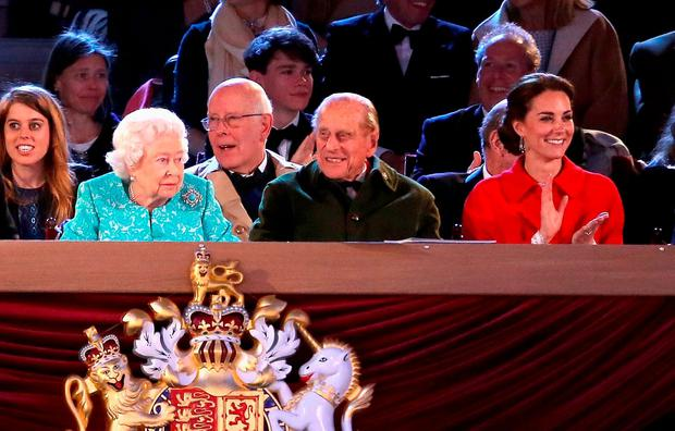 Prince Philip, Duke of Edinburgh, Catherine, Duchess of Cambridge along with Queen Elizabeth II during the final night of the Queen's 90th Birthday Celebrations at Windsor on May 15, 2016 in Windsor, England. (Photo by Chris Jackson/Getty Images)