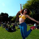 Sophia Carvalho, from Brazil living in Harold's Cross, enjoying the sunshine. St. Stephen's Green, Dublin. Picture: Caroline Quinn