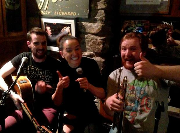 Daisy Ridley with Tasty band members at McGrory's in Culdaff. PIC: John D Ruddy Twitter