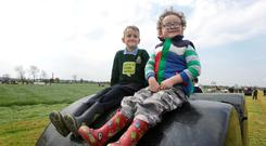 The Clery brothers Michael (6) and Cillian (3) Clery from Birr, Co. Offaly were taking a brief pitstop from checking out the machinery at The FTMTA Grass & Muck Show 2016 at Gurteen College. Photo: Damien Eagers.
