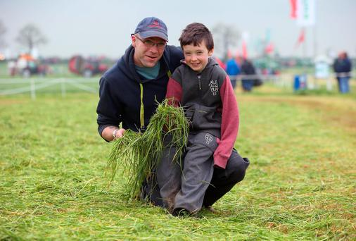 The FTMTA Grass & Muck Show in Gurteen College was living up to its name as Michael Clavin, from Horseleap, Co. Offaly and his son Patrick (7) found.