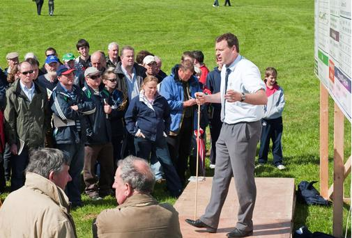 Dr Padraig French, Teagasc pictured addressing farmers at the Teagasc open day on ' Irish Dairying- Planning for 2015'.