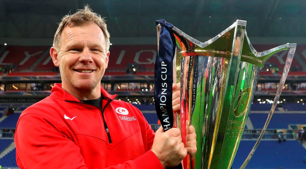 Saracens' director of rugby Mark McCall poses with the Champions Cup after his side's final victory over Racing 92 Photo: David Rogers/Getty Images