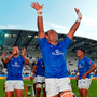 Samoa player Faalemiga Selesele celebrates after his side's victory over Fiji Photo: Aurelien Meunier/Getty Images for HSBC
