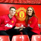 Conor Whelan with girlfriend Caoimhe at Old Trafford