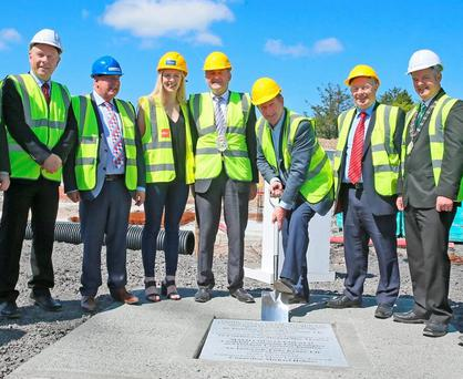 Taoiseach Enda Kenny in Castlebar yesterday for the laying of the foundation stone of the new swimming pool complex and outdoor education centre at Lough Lannagh. Photo: Michael Donnelly