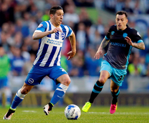Brighton's Anthony Knockaert in action against Sheffield Wednesday's Ross Wallace Photo: Reuters / Henry Browne