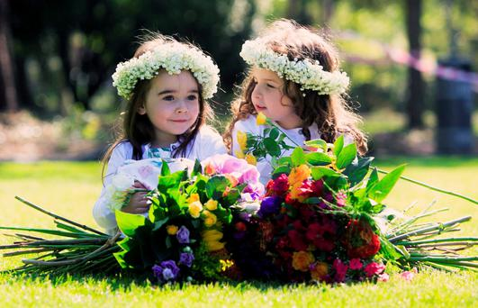 Eva Casey (5) from Maynooth and Doireann McNally (5) from Dundalk at the launch of Bord Bia's Bloom Festival, which will take place in the Phoenix Park on the June bank holiday weekend. Photo: Gareth Chaney