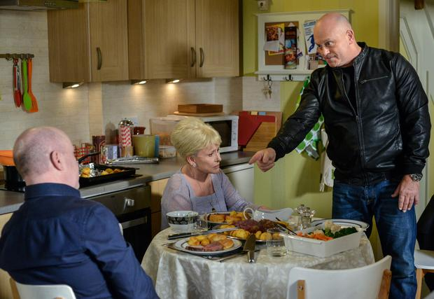 Sparks fly between the Mitchell brothers. Phil Mitchell (STEVE MCFADDEN), Peggy Mitchell (BARBARA WINDSOR), Grant Mitchell (ROSS KEMP) - (C) BBC - Photographer: Kieron McCarron