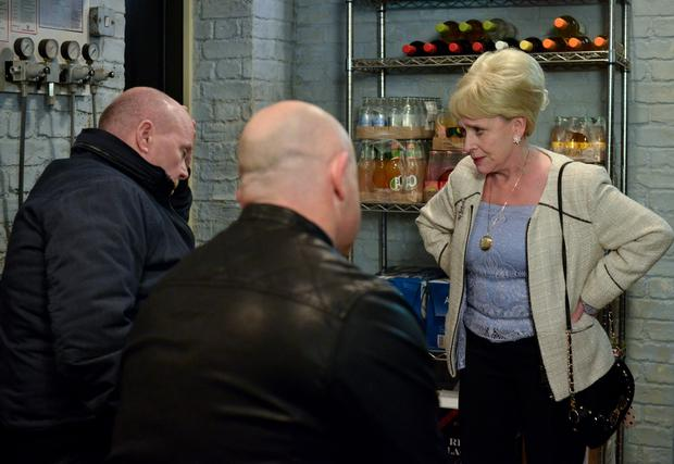Peggy is frustrated when Grant & Phil join forces to look after her. Phil Mitchell (STEVE MCFADDEN), Grant Mitchell (ROSS KEMP), Peggy Mitchell (BARBARA WINDSOR) - (C) BBC - Photographer: Kieron McCarron