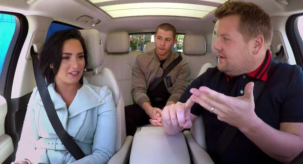 Demi Lovato and Nick Jonas in Carpool Karaoke with James Corden