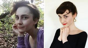 Annelies van Overbeek transformed herself from her natural look (left) to Hollywood icon Audrey Hepburn (right). Photo: Instagram