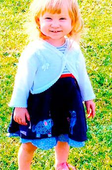 Undated handout file photo issued by West Yorkshire Police of Jasmine Weaver, 1, as Samira Lupidi, 24, who has appeared at Bradford Magistrates' Court charged with murdering her and three-year-old Evelyn Lupidi, has told a psychiatrist she had never heard her youngest daughter cry like she did after her sister died