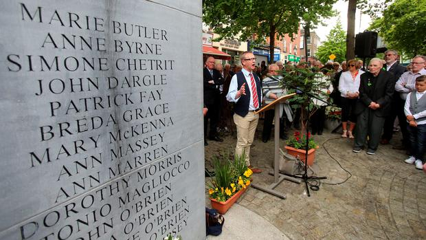 Alan McBride (whose wife and father in law where killed in the Shankill Bombing) speaking at a wreath laying ceremony in Talbot Street Dublin to mark the 42nd anniversary of the Dublin-Monaghan bombings. Photo: Niall Carson/PA Wire