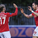 Billy Dennehy, right, St Patricks Athletic is congratulated by team-mate Dylan McGlade after scoring his side's third goal during the SSE Airtricity League Premier Division, St Patrick's Athletic v Finn Harps, Richmond Park, Dublin. Photo by David Fitzgerald/Sportsfile