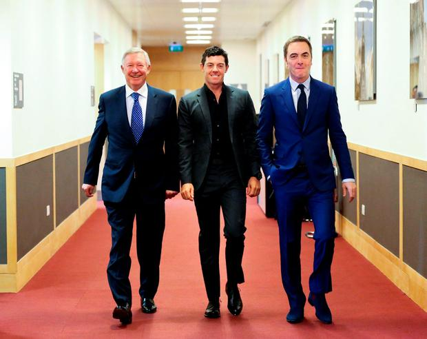 Alex Ferguson, Rory McIlroy and James Nesbitt at the event. Photo: Maxwell Photography