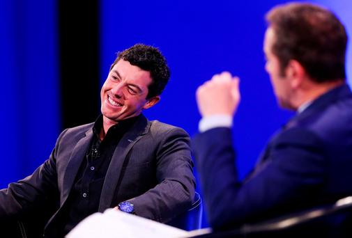 Rory McIlroy is interviewed by James Nesbitt at the Convention Centre in Dublin