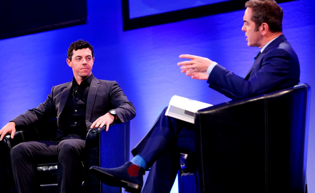 James Nesbitt interviews Rory McIlroy on stage at 'An Evening with Rory' at Dublin's Convention Centre