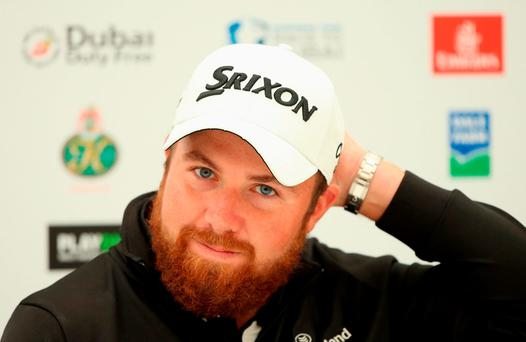 Shane Lowry speaks to the media during a press conference at the Dubai Duty Free Irish Open Hosted by the Rory Foundation at The K Club ANDREW REDINGTON/GETTY