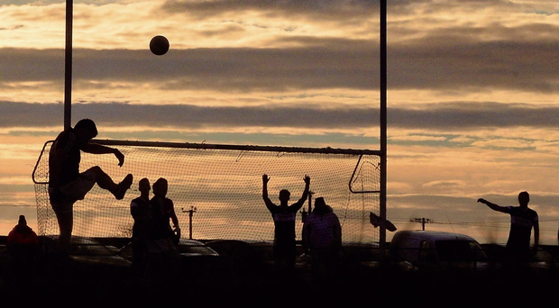 Eddie Hoare bisects the posts in front of a stunning backdrop during Galway's visit to the Enniscrone-Kilglass club in Sligo in January 2015. Many of the players on the panel then have left, while others have declined to replace them (SPORTSFILE)