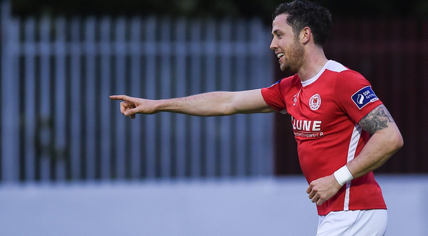 Billy Dennehy celebrates after scoring his side's third goal Photo by David Fitzgerald/Sportsfile