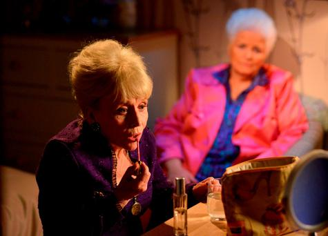 Peggy Mitchell (left) (played by Barbara Windsor) and Pat Evans (Pam St. Clement), as beloved EastEnders' character Peggy said goodbye to Albert Square for the final time, taking her own life in a heartbreaking scene. PRESS ASSOCIATION Photo