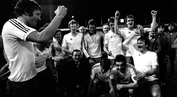 John Toshack (left) leads the celebrations with his team-mates after their UEFA Cup triumph over Bruges in 1976 (Getty Images)