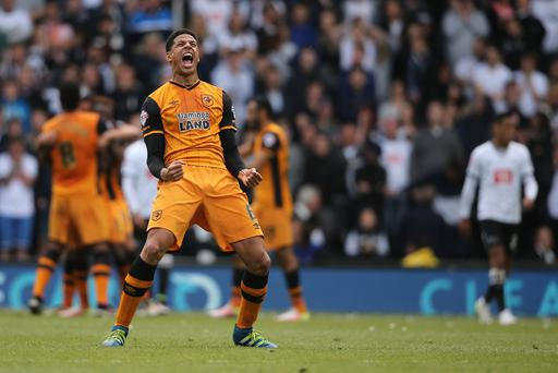 Curtis Davies celebrates after an own goal to make it 0-2 (Getty Images)