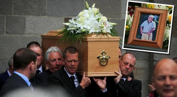 Peter and Christopher O'Connor carry their father Christy Senior's remains from the church; inset, Christy O'Connor on the golf course