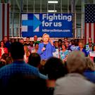 Democratic presidential candidate Hillary Clinton speaks at a campaign stop in Louisville, Ky